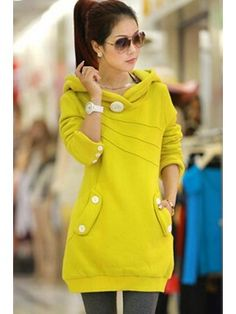 Ericdress Buttons Casual Hoodie