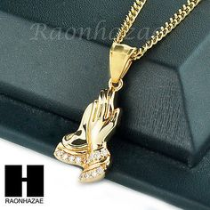 e0c303337013 MENS STAINLESS STEEL ICED OUT PRAYING HANDS PENDANT 24