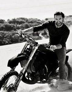 Hugh Jackman on a motorbike...yum Still cant get over that he was a P.E Teacher that he wasnt MY P.E Teacher