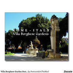 Villa Borghese Garden Statues, Rome, Italy Postcard
