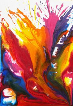 Multicolor fluid painting by Dacanal, acryclics on canvas, 100x70 cm.