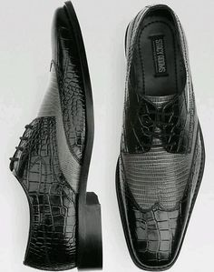 Stacey Adams Amato Black and Gray Wingtip Lace Ups - Dress Shoes
