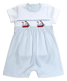Blue Sailboat Hand-Smocked Pima Romper - Infant & Toddler by Zulily