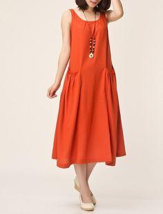 Orange / Dark blue linen dress maxi dress by originalstyleshop, $56.00