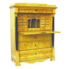 Biedermeier Secretaire.  Is it really yellow, or is it just the photograph?