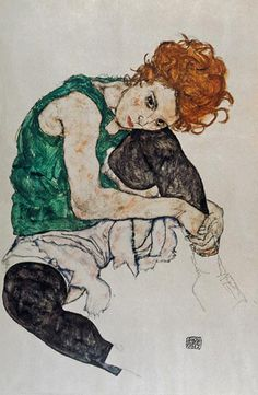 Egon Schiele-Sitting woman with a knee up