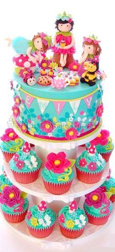Magical Flower Fairies Picnic Cupcake Tower