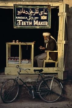 Teeth maker in Morocco  Now that's an interesting choice for a street vendor…