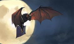 Bat's post delivery by schastlivaya-ch on DeviantArt Fantasy Kunst, Fantasy Art, Woodland Creatures, Fantasy Creatures, Vampire Bat, Inspirational Artwork, Kawaii, Cartoon Shows, Beautiful Birds