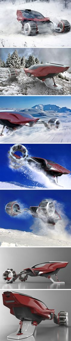 Two hubless wheels on the front propel the vehicle forward while a snowboard back allows the vehicle to glide on ice/snow effortlessly. When matters get tough, the tires of the RDSV open out (codenamed the adaptive traction system), allowing them to grip onto snow or mud with ease. Each wheel contains 12 paddles of two kinds. Longer paddles that extend further outwards for deeper snow, and shorter paddles that work better on harder surfaces.
