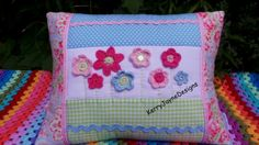 PATCHWORK CROCHET CUSHION, Colourful Crochet pillow KerryJayneDesigns, Cath kidston, pink cushion cover crochet flowers, braids buttons gift...