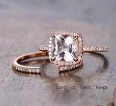 Cushion Morganite Engagement Ring Sets Pave Diamond Wedding 14K Rose Gold 8mm