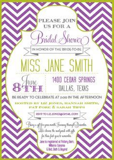 Bridal Shower Chevron Invite