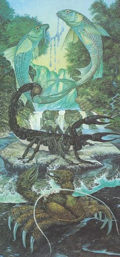 THE ELEMENTS: WATER Cancer, Scorpio, Pisces (oil on board, 1991, by Linda & Roger Garland)