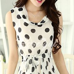 Stylish Scoop Neck Sleeveless Polka Dot Chiffon Women's Dress Vintage Dresses | RoseGal.com Mobile
