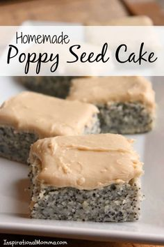 Homemade Poppy Seed Cake is moist with amazing flavor. An old family recipe that you will soon adopt! Topped with caramel frosting, it is sure to please! Poppy Seed Recipes, Yummy Treats, Yummy Food, Sweet Treats, Poppy Seed Cake, Poppy Seed Dessert, Caramel Frosting, Cake With Cream Cheese, Cake Ingredients