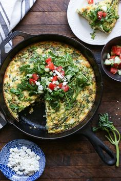 Zucchini, Arugula, and Feta Frittata   TheRoastedRoot.net #vegetarian #breakfast #healthy