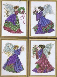 4 Christmas Angels Cross Stitch Kit (4 x 5  x 7  Designs) - Design Works #5983