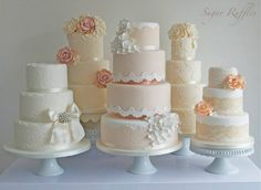 vintage lace wedding cake in peach, cream, white and ivory by Sugar Ruffles UK