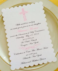 Baptism or First Holy Communion Invitations - Scalloped Shaped For Girl Or Boy