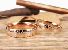 """Custom The Lord """"One Ring"""" Your words Rose Gold Dome in Tengwar, Matching Wedding Bands, Couple Rings Set, Anniversary Rings Set"""