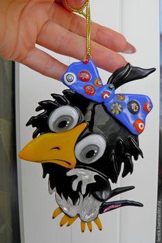 Купить Каркуша.Подвесная игрушка. Стекло.Фьюзинг. - черный, ворона, смешная ворона, милая ворона