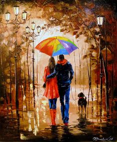 OLHADAR888 Olha Darchuk ART Bright walk with a friend Couple oil painting art, people painting, romance art, original oil art,landscape painting,impressionism,bright