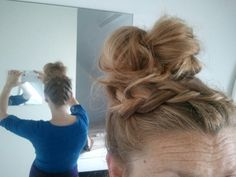 Updo upside braid