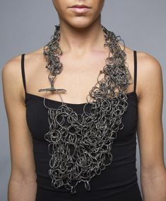 Steel mesh necklace with hand-formed links and asymmetrical structure; - Steel mesh necklace with hand-formed links and asymmetrical structure; Jewelry Shop, Jewelry Art, Jewelry Accessories, Fashion Jewelry, Jewellery Box, Jewelry Stores, Tanishq Jewellery, Designer Jewellery, Jewellery Making
