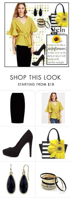 """""""SheIn Flutter Sleeve Wrap Top"""" by terryandjim ❤ liked on Polyvore featuring Jupe By Jackie, Charlotte Russe, 1928 and Venus"""
