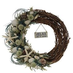 Features:  -Wreath.  -Summer collection.  -Flower: Mixed.  --The Sea Glass Coastal wreath is designed with a beautiful blue, white and green glass that the waves have softened by tumbling in the surf,