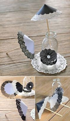 Party Decoracion Black And White Wedding Ideas 45 Ideas Paper Doily Crafts, Doilies Crafts, Paper Doilies, Diy And Crafts, Arts And Crafts, Diy Wedding, Wedding Ideas, Paper Flowers, Paper Art