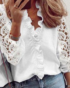 Lace Ruffle, Ruffle Shirt, Long Sleeve Tops, Long Sleeve Shirts, Trend Fashion, Womens Fashion, Tops Online Shopping, Blouse Online, Blouse Styles