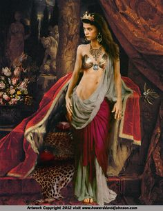 Cleopatra, ( 69-30 B.C.) descended from Ptolomey, one of Alexander the great's generals. She was heralded as the greatest of all beauties and is arguably the most legendary femme fatale in all the annals of history in competition with the beauteous Helen of Troy.