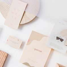 Soft and minimal branding and collateral for The Garret by @halfandtwicestudio #designspiration