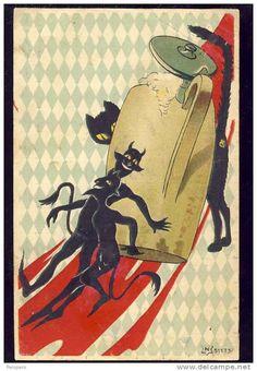 KRAMPUS,  devil,   Christmas,  old postcard