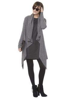 monochromatic >> navy sheath and navy swing cardigan with tights and booties