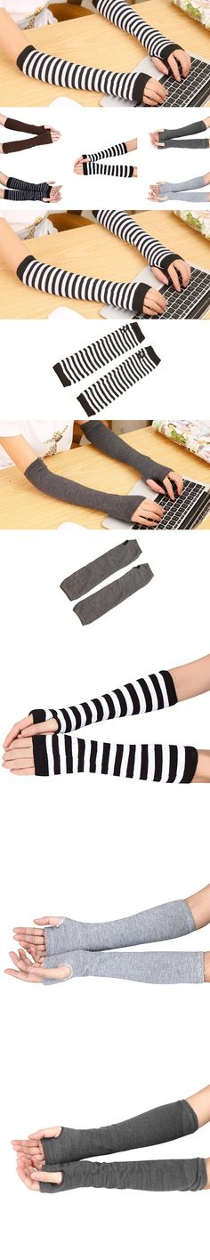 New Winter Women Lady Stretchy Soft Knitted Wrist Arm Warmer Long Sleeve Fingerless Gloves Striped High Quality $1.35