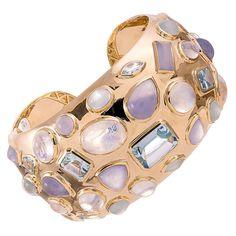 Seaman Schepps Gemstone Gold Cuff Bracelet | From a unique collection of vintage cuff bracelets at https://www.1stdibs.com/jewelry/bracelets/cuff-bracelets/