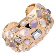 Seaman Schepps Gemstone Gold Cuff Bracelet | From a unique collection of vintage cuff bracelets at https://www.1stdibs.com/jewelry/bracelets/cuff-bracelets/