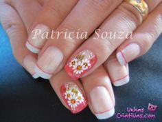 UÑAS Fun Nails, Pretty Nails, Vacation Nails, Nails Only, French Tip Nails, Flower Nail Art, Fabulous Nails, Cute Nail Designs, Easy Nail Art