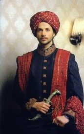 Amazing blue sherwani with red turban