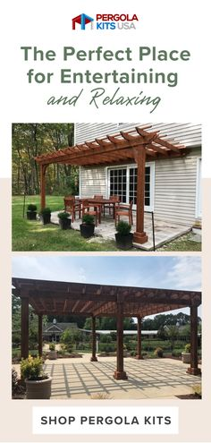 Ready to get your backyard into shape? Try these Pergolas that are customizable to any space and easy to install! Make your backyard someplace to entertain or just enjoy with a little relaxation! #pergolas #backyardmakeover Cedar Pergola Kits, Wood Pergola, Diy Pergola, Cedar Lumber, Outdoor Dining, Outdoor Decor, Backyard Makeover, Western Red Cedar, Outdoor Entertaining