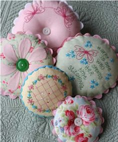 Pretty round kitsch pincushions with scalloped edges.