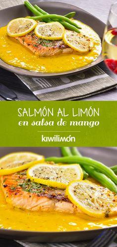 Si quieres sorprender a tu pareja este #sanvalentin con una cena romántica muy especial, prepara este Salmón al Limón en Salsa de Mango. Es muy fácil de hacer y podrás darle un toque muy elegante si lo acompañas con una copa de vino blanco. ¡Te encantará! Salmon Recipes, Fish Recipes, Seafood Recipes, Beef Recipes, Cooking Recipes, Fish Dishes, Tasty Dishes, Healthy Snacks, Healthy Recipes