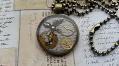 steampunk resin bee necklace  £8.00