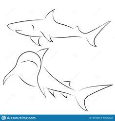 Black Line Sharks On White Background. Stock Vector - Illustration of icon, contour: 130116263 - Illustration about Black line sharks on white background. Hai Tattoos, Line Tattoos, Body Art Tattoos, Animal Sketches, Animal Drawings, Drawing Sketches, Small Shark Tattoo, Ocean Tattoos, Tribal Shark Tattoos