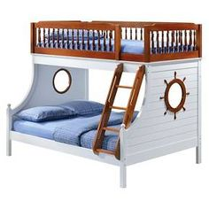 Bring joy to your little sailor's face with the Farah collection. The bunk bed features twin over full beds in a warm oak and white finish, easy access guardrail with decorative turned spindles, right facing build-in ladder, supporting slat system and decorative finials . Any children will love the ship wheel design on both walls, make bedtime feel like playtime.