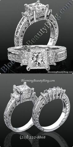 Princess Channel Set Beaded Milgrain Hand Carved Diamond Engagement Ring - unique hand carved design patterns all surrounded by beaded milgrain edging. Along the top of the band you'll see flush channel set princess diamonds connecting . Princess Cut Rings, Princess Cut Engagement Rings, Engagement Ring Cuts, Princess Cut Diamonds, Designer Engagement Rings, Solitaire Engagement, Beautiful Wedding Rings, Wedding Rings Vintage, Vintage Engagement Rings