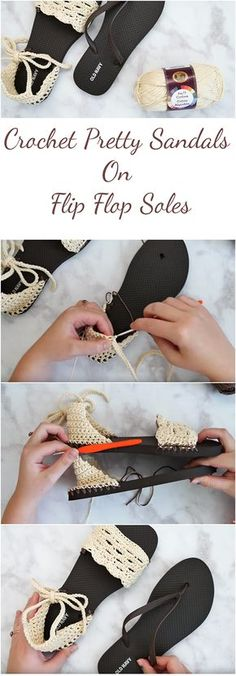 Crochet Sandals With Flip Flop Soles + Free Pattern | A step-by-step tutorial, Video, Photo collage and a free pattern. This article is for those who want to learn how to crochet sandals with flip flop soles for free!